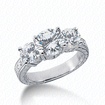 14KP Antique Cut Diamond Unique Engagement Ring