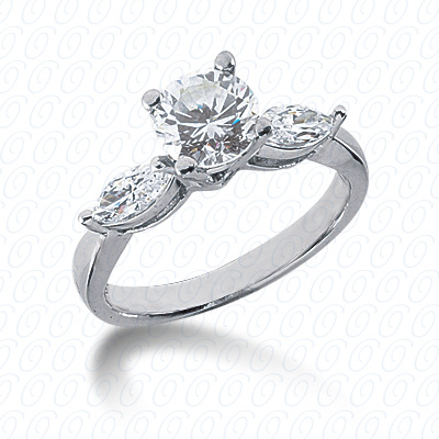 14KW Marquise Side Stones Cut Diamond Unique Engagement Ring 0.28 CT. Semi Mount Style