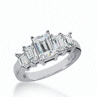 14KW Emerald Cut Diamond Unique Engagement Ring 1.16 CT. Wedding Bands Style