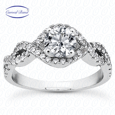 14KW Halo Petite  Cut Diamond Unique Engagement Ring 0.39 CT. Petite Style