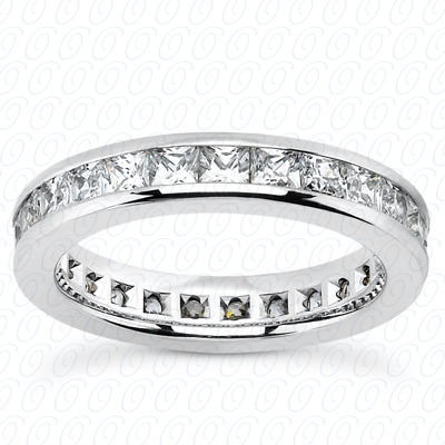 14KP Plain Cut Diamond Unique Engagement Ring 2.30 CT. Princess Channel Eternity Style