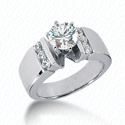 14KW Round Bar Cut Diamond Unique Engagement Ring 0.30 CT. Round Side Stones Style