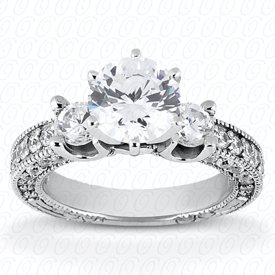 14KP Antique Cut Diamond Unique <br>Engagement Ring 0.80 CT. Engagement Rings Style