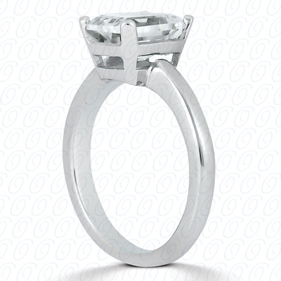 18KP Emerald Cut Diamond Unique Engagement Ring