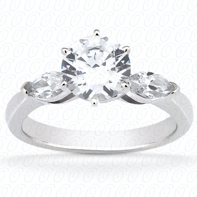 14KW Marquise Side Stones Cut Diamond Unique Engagement Ring 0.14 CT. Semi Mount Style