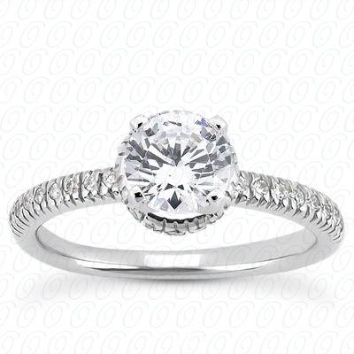14KW Halo Petite  Cut Diamond Unique Engagement Ring 0.16 CT. Petite Style