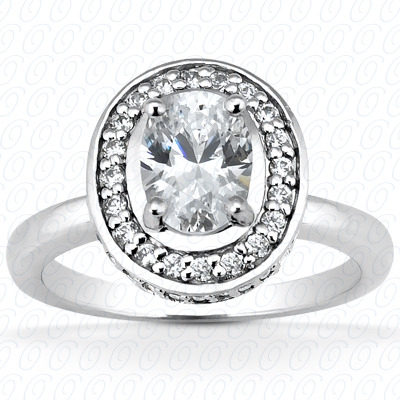 14KP Oval 0.37 CT. Halo