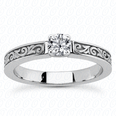 14KP Floral 0.00 CT. Engraved Collection