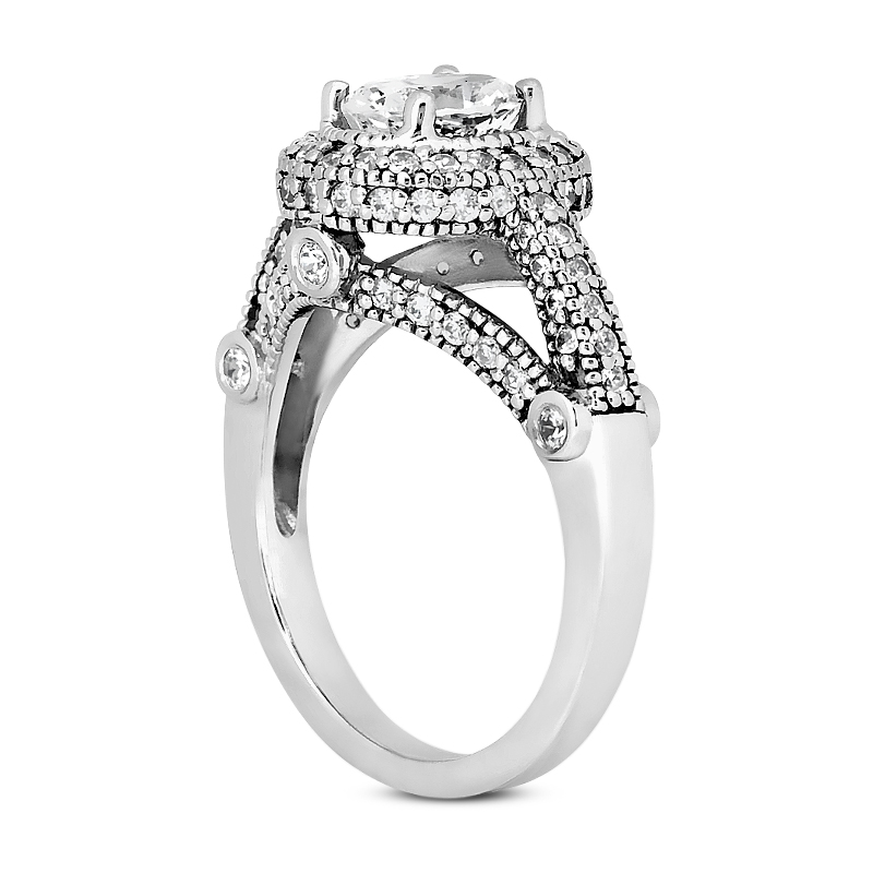 0.53 CT. 14 Karat Pink Gold Oval Cut Diamond <br>Engagement Ring HALO Style