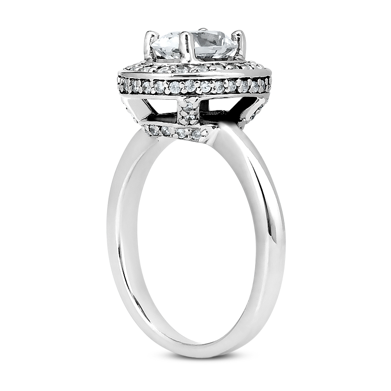 0.37 CT. 14 Karat Pink Gold Oval Cut Diamond <br>Engagement Ring HALO Style