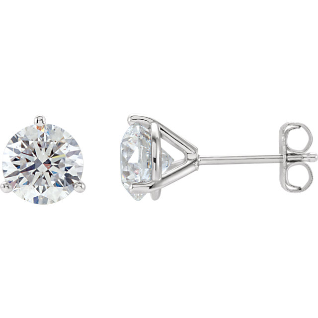 14kt White 1 1/2 CTW Diamond Stud Earrings