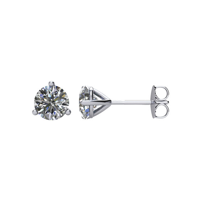 14kt White 1/4 CTW Diamond Threaded Post Earrings
