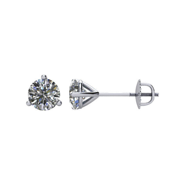 Round 3-Prong Stud Earrings