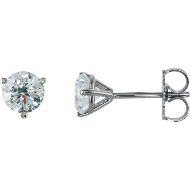 14kt White 1 CTW Diamond Stud Earrings