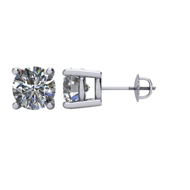 Round 4-Prong Stud Earrings