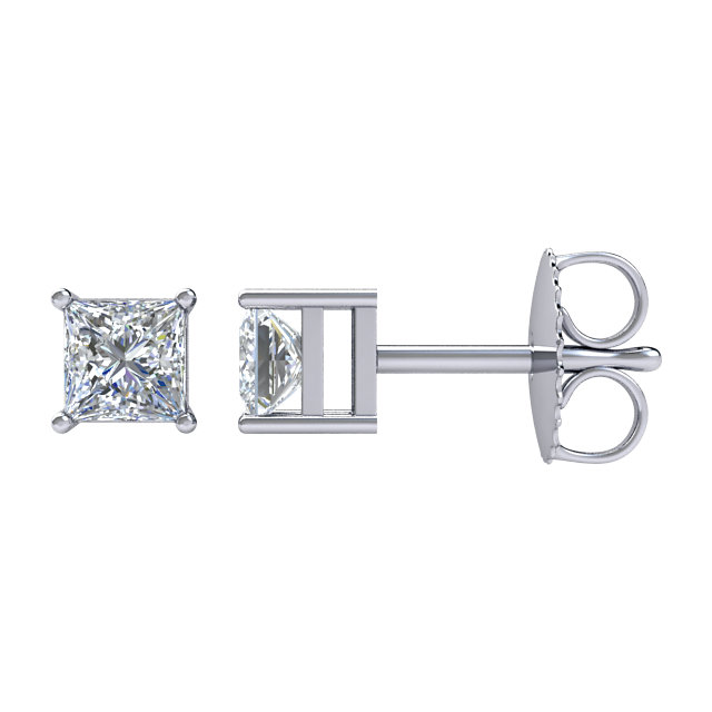14kt White 1 CTW Diamond Earrings