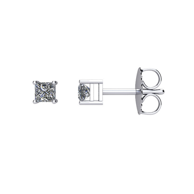 14kt White 1/4 CTW Diamond Earrings