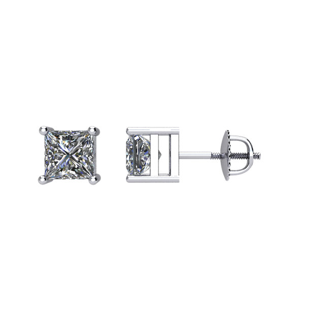 14kt White 1/4 CTW Diamond Threaded Post Stud Earrings