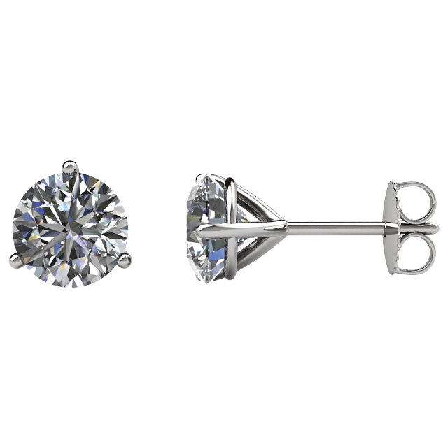 14kt White 1 CTW Diamond Friction Post Stud Earrings