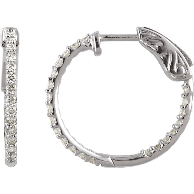 14kt White 1/2 CTW Diamond Inside/Outside Hoop Earrings