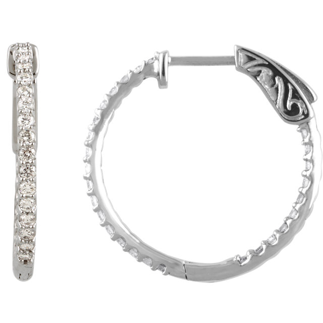 14kt White 3/4 CTW Diamond Inside/Outside Hoop Earrings