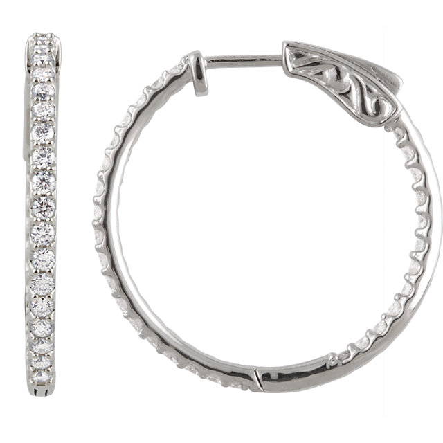 14kt White 1 CTW Diamond Inside/Outside Hoop Earrings