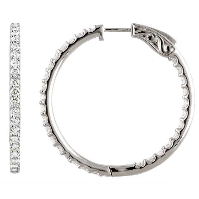 14kt White 5 CTW Diamond Inside/Outside Hoop Earrings