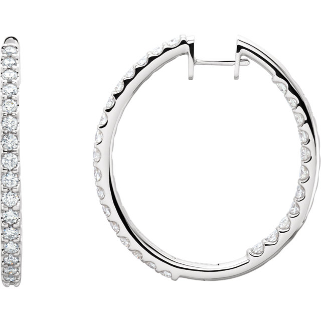 14kt White 3 CTW Diamond Hinged Inside/Outside Hoop Earrings