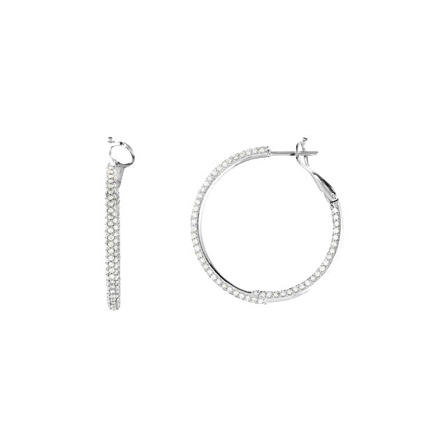 14kt White 2 CTW Diamond Inside/Outside Hoop Earrings