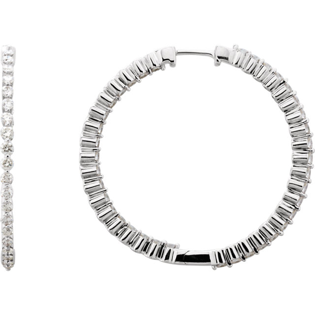2 CTW Diamond Inside/Outside Hoop Earrings