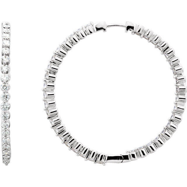 3 CTW Diamond Inside/Outside Hoop Earrings