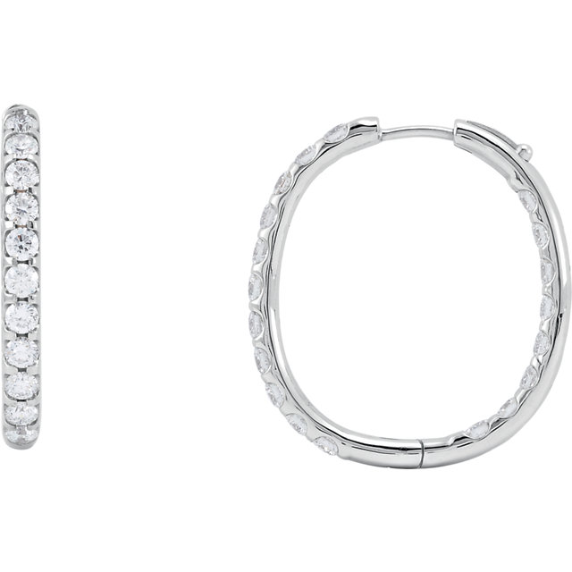 14kt White 3 CTW Diamond Inside/Outside Hoop Earrings