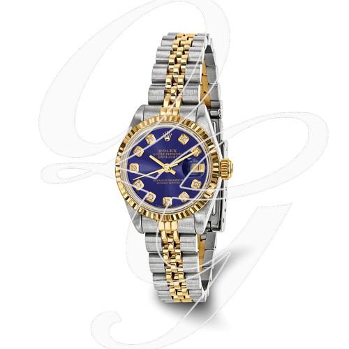 Certified Pre-owned Rolex Steel/18ky Ladies Diamond Blue Watch
