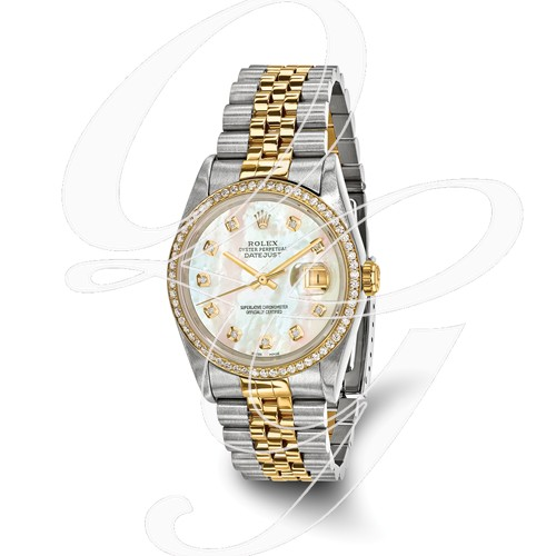 Certified Pre-owned Rolex Steel/18ky Mens Diamond MOP Watch