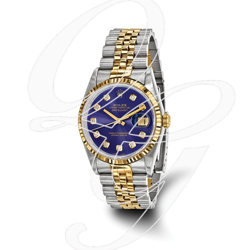 Certified Pre-owned Rolex Steel/18ky Mens Diamond Blue Watch