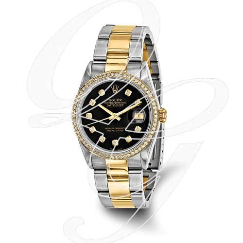 Certified Pre-owned Rolex Steel/18ky Mens Diamond Black Watch