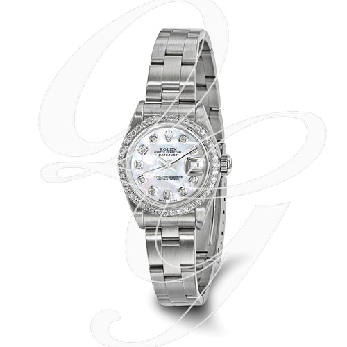 Certified Pre-owned Rolex Steel/18kw Bezel, Ladies Diamond MOP Watch