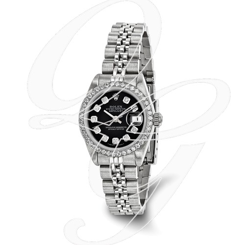 Certified Pre-owned Rolex Steel/18kw Bezel, Ladies Diamond Black Watch
