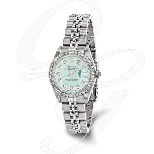 Certified Pre-ownd Rolex Steel/18kw Bezel, Lady Diamond Ice Blue Watch