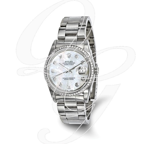 Certified Pre-owned Rolex Steel/18kw Bezel, Mens Diamond MOP Watch