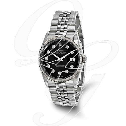 Certified Pre-owned Rolex Steel/18kw Bezel, Mens Diamond Black Watch