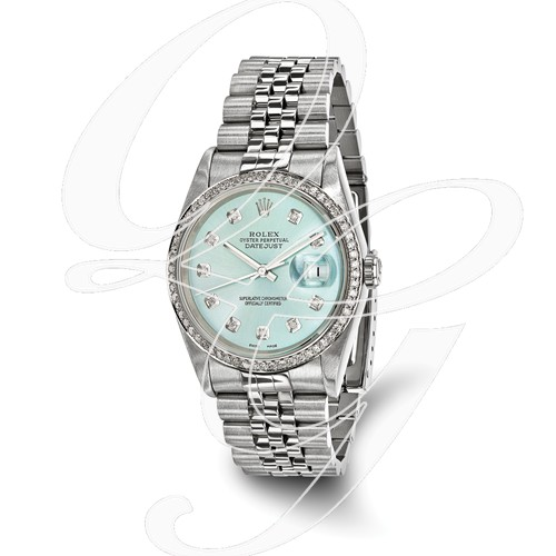 Certified Pre-ownd Rolex Steel/18kw Bezel, Men Diamond Ice Blue Watch