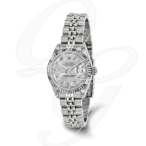 Certified Pre-owned Rolex Steel/18kw Bezel, Ladies Diamond Silver Watch