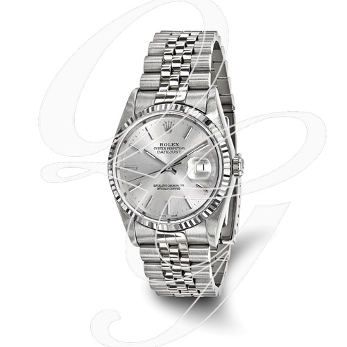 Certified Pre-owned Rolex Steel/18kw Bezel, Mens Silver Dial Watch