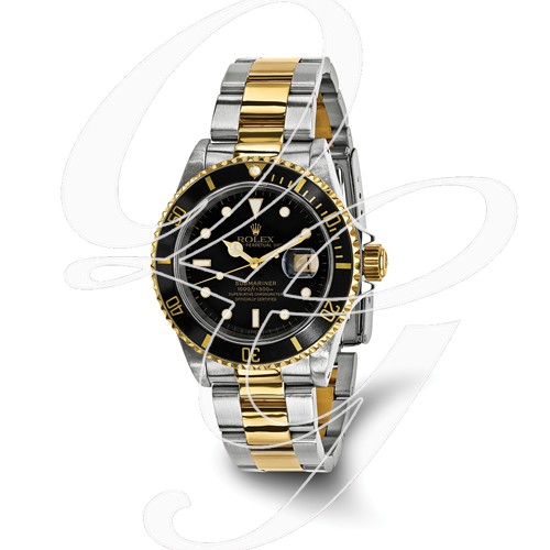 Certified Pre-owned Rolex Steel/18ky Mens Submariner Black Dial Watch