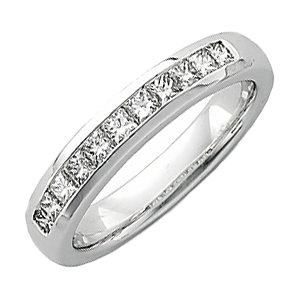 14kt White 1 CTW Diamond Men's Princess-Cut Diamond Ring