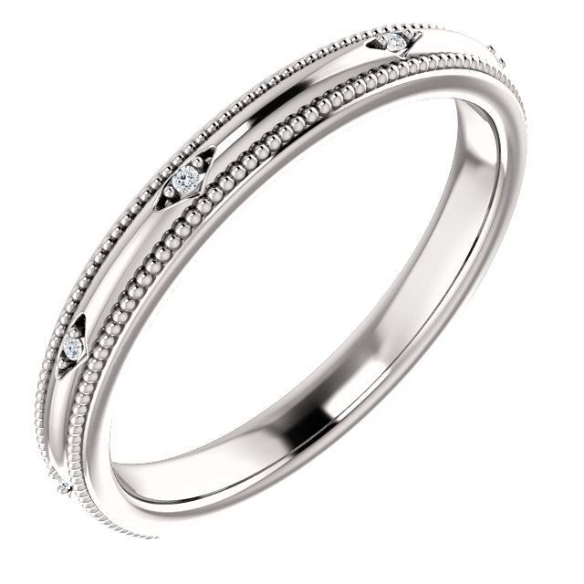 14kt White .02 CTW Diamond Matching Band