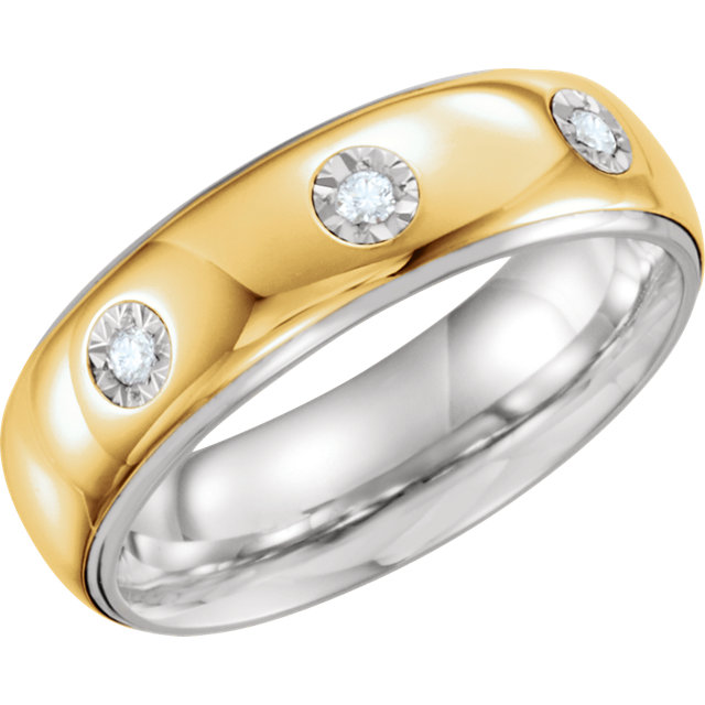 Sterling Silver & 10kt Yellow 7mm 1/10 CTW Diamond Band Size 10