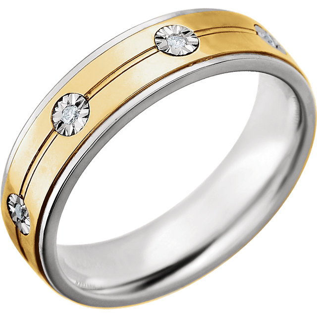 Sterling Silver & 10kt Yellow 6mm 1/10 CTW Diamond Band Size 11