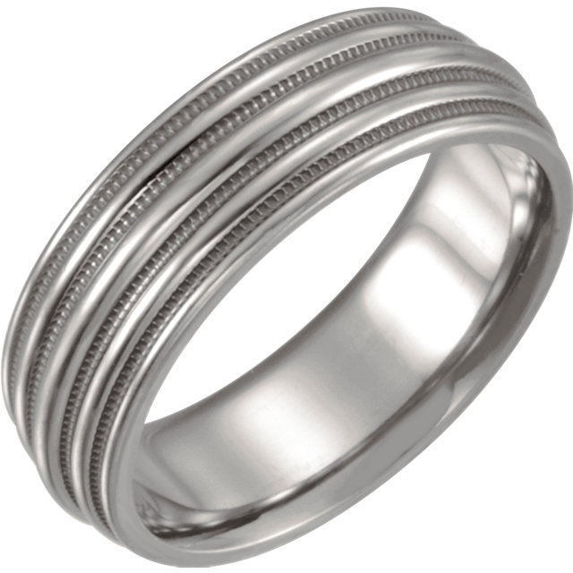 Titanium Grooved & Domed 6Mm Band